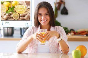 ZDRAVÉ CIEVY (1 väčší strúčik cesnaku, 1 citrón, 1 cm zázvoru, 0,25l vody - rozmixovať)