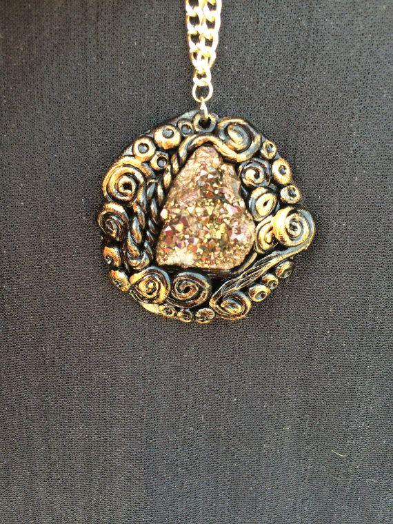 Polimer clay necklaceCrystal necklaceBlack pendant by BohemCrafts