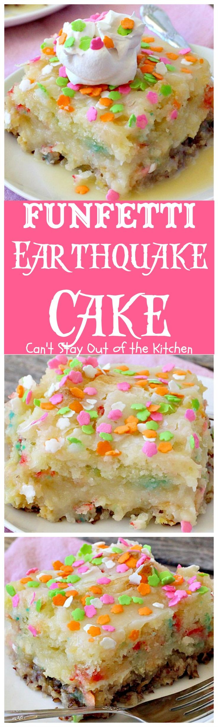 Funfetti Earthquake Cake | Can't Stay Out of the Kitchen | this is the perfect #cake for #birthdays or special occasions. #Creamcheese icing bakes into the cake causing volcano-like craters & an earthquake! #dessert #funfetti
