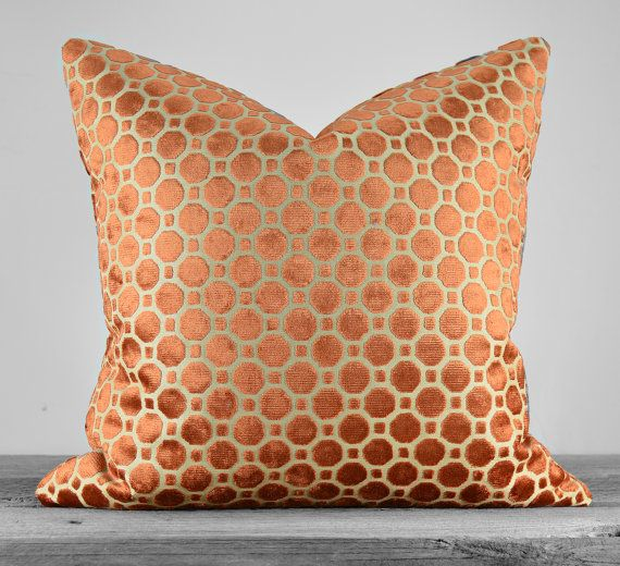 Robert Allen Velvet Geo Copper Pillow Cover - SAME Fabric on BOTH SIDES - Pick Your Size
