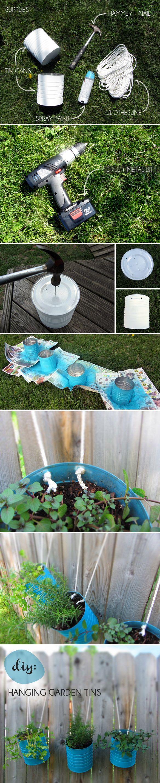 Macetas colgantes con latas recicladas