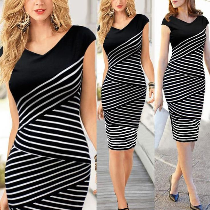 Sexy Knee-Length V-Neck Short Sleeve Striped Midi Slim Dress