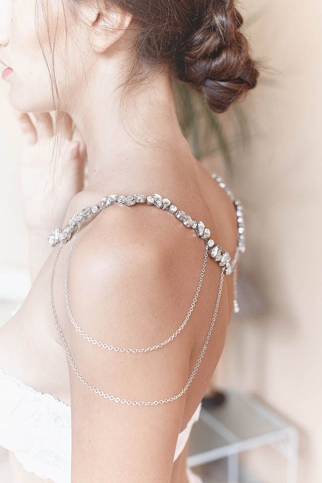 Beautiful Bridal Body Jewellery from Etsy | SouthBound Bride | Credit: Victoria Necklace For the Shoulders by Jonida Ripani