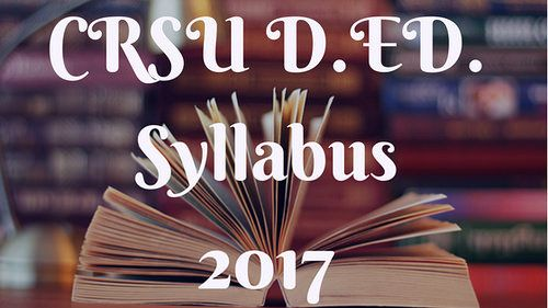 https://flic.kr/p/Sv4v3y   CRSU D.ED Syllabus 2017   CRSU Jind Syllabus for Diploma of Education(D.ED). For Admission and more details contact @ 09311707000, 09312650500.
