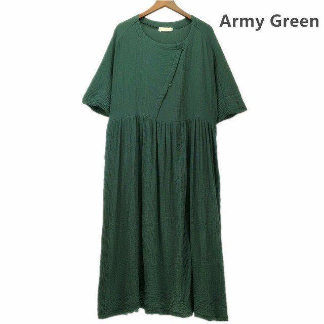 Womens Elegant A-line three quarter sleeve cotton linen dress