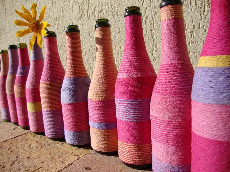 Resultado de imagem para garrafas decoradas com lã