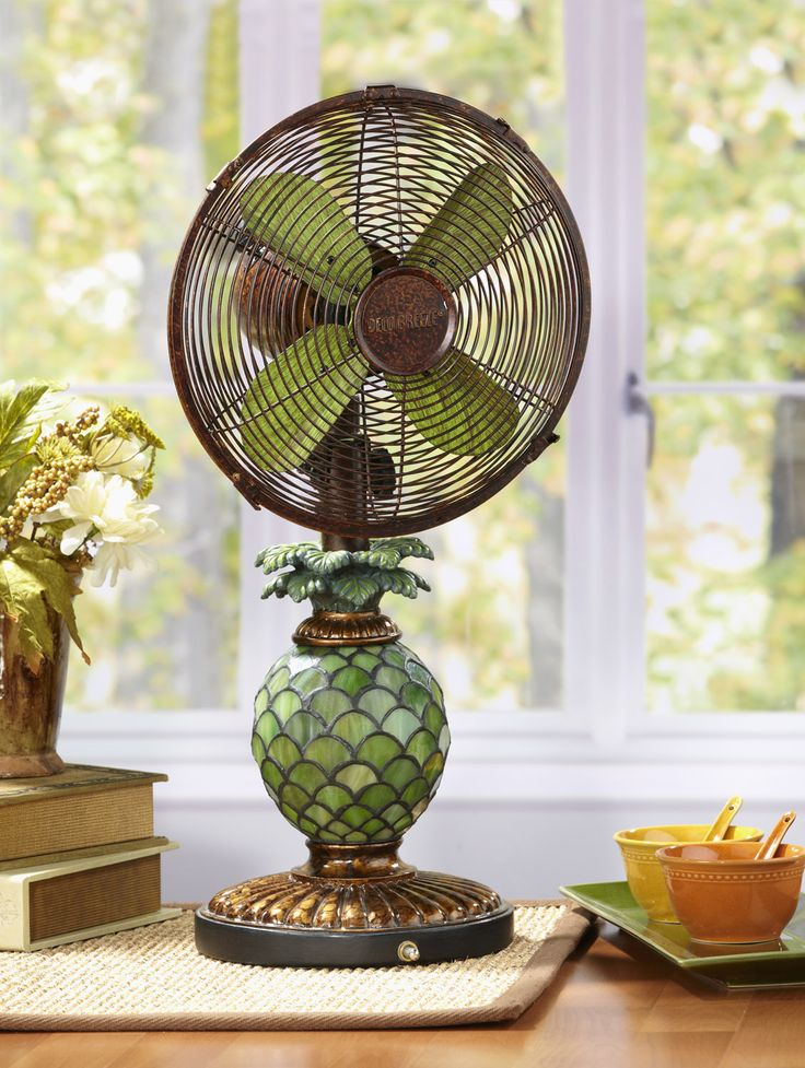 Pineapple Decorative Oscillating Table Fan With Light. The Mosaic Glass  Pineapple Designer Table Top Fan/Lamp, Does More Than Just Provide You With  A Gentle ...