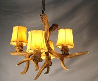 """ON SALE!! SP-3 Nevada Real Antler Chandelier (22-24""""D x 12-13""""H), 4 light sockets, 3 feet of chain - $398 USD (optional shades not included)"""