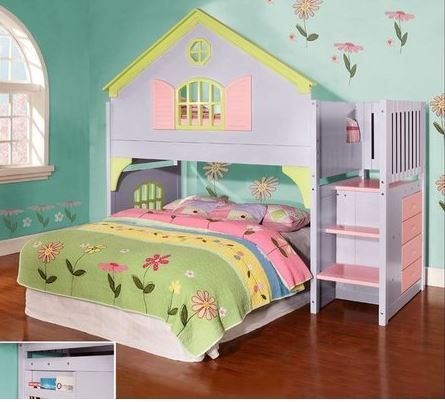 Princess Stairway Bunk Bed with reversible stairs and built-in chest with FREE SHIPPING nationwide... from Bunk Bed Kingdom!  http://www.bunkbedkingdom.com/princess-reversible-stairway-loft-bunk-bed-lavender-pink-lime/