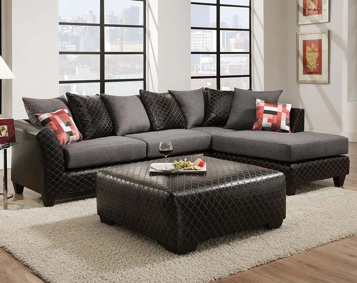 Black and Gray, Patterned Couch : Jitterbug Grey 2 PC. Sectional Sofa : Home : Pinterest ...