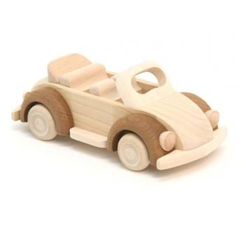 Push along wooden Beetle Car, ideal for young children.