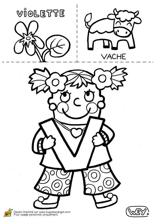 Les jolis dessins à colorier d'une violette et d'une vache pour illustrer la lettre V.