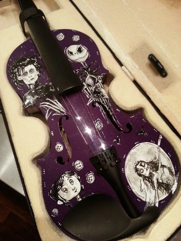 Hand Painted Edward Scissorhands, Corpse Bride, Coraline, Nightmare Before Christmas Tim Burton Inspired Violin by ChildatHeartPainter on Etsy