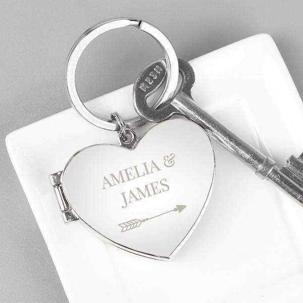 Enter Your Custom Text Engraved Personalised Silver Heart Shaped Keyring