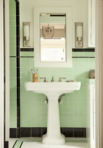 Pistachio & Black~Vintage Bathrooms ~ I was dealt the Pink & Black tile card with my old loo, but painted, repapered, retiled the floor in black & made it work ;) Glad I did, love the 50s feel!!