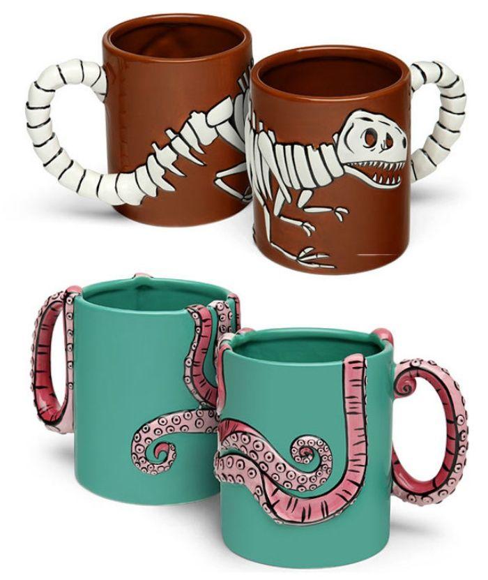 Roarin' Cup of Joe: T-Rex Fossil and Octopus Coffee Mugs