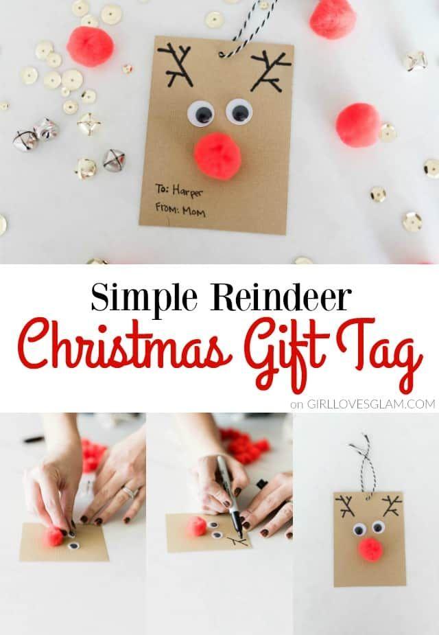 Christmas Gift Tags Pinterest.Simple Reindeer Christmas Gift Tag Christmas Pinterest