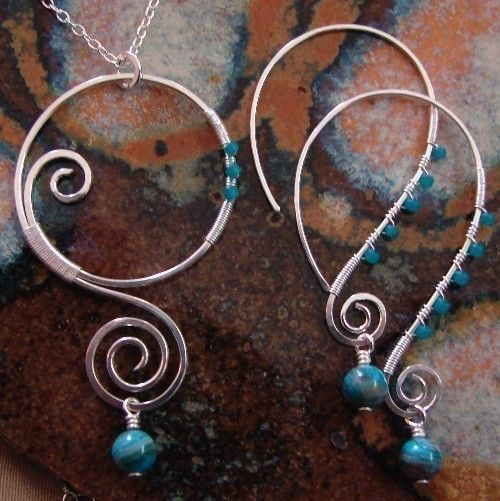Wire Work - Love how large these are with so little wire.Silver Necklaces, Wire Jewelry, Wire Earrings, Wire Work, Wire Wraps, Sterling Silver, Wirework, Earrings Sets, Necklaces Earrings