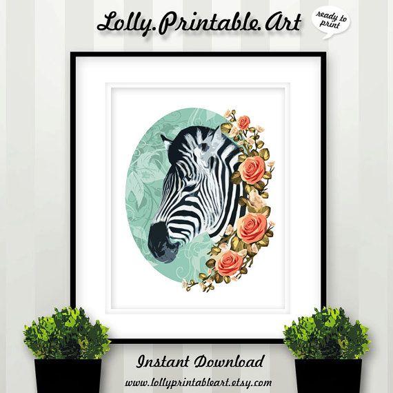 Unique Printable Art (Zebra Floral Flowers) by LollyPrintableArt