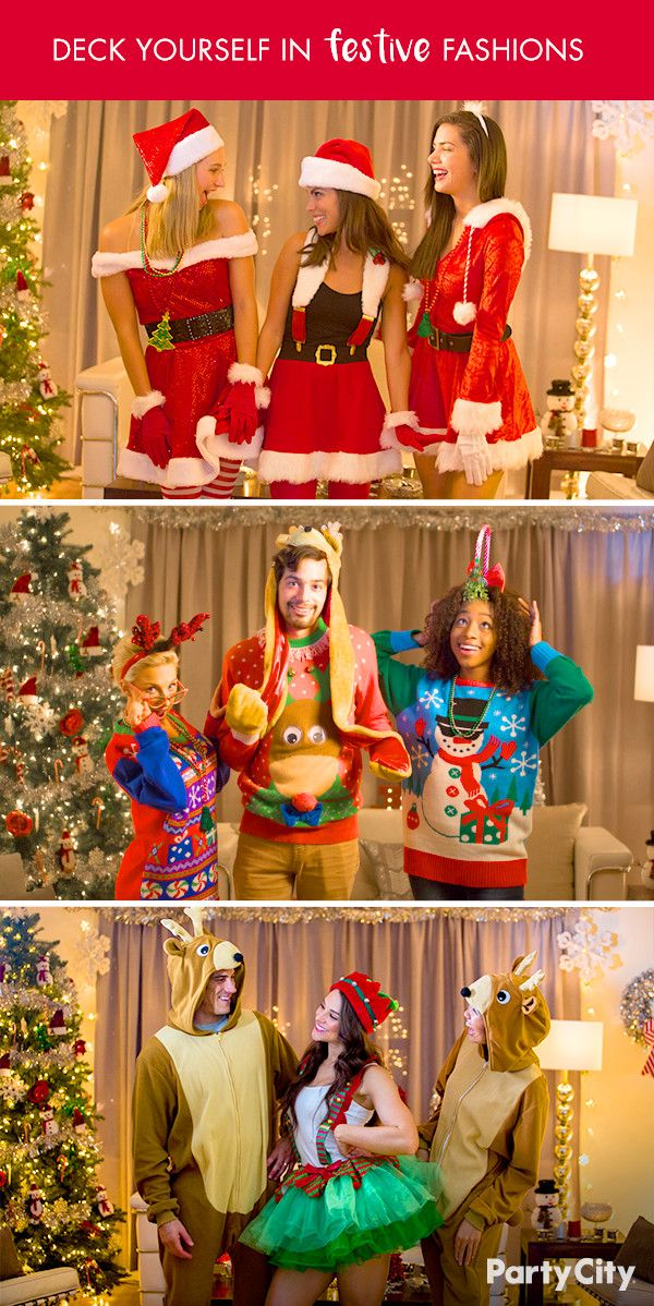 Take Christmas Style To A Whole New Level With Party City Holiday Fashion Is All About Ampl Christmas Dress Up Christmas Party Themes Christmas Party Supplies