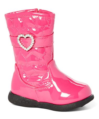 This Fuchsia Quilted Rhinestone Heart Boot - Toddler by Chatties is perfect! #zulilyfinds