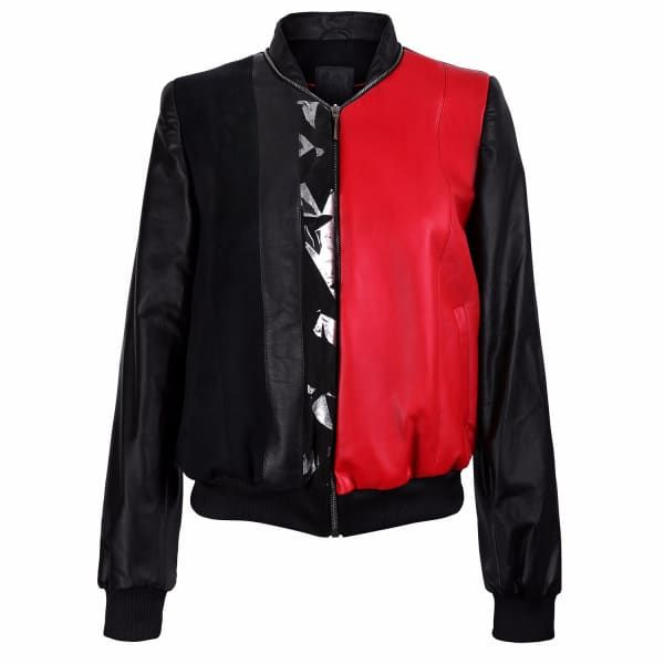 Black & Red Leather Bomber Jacket With Silver Print Motif | Vols & Original | Wolf & Badger
