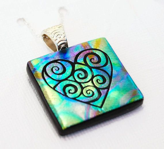 9 best dichroic glass pendants images on pinterest dichroic glass heart swirl pendant fused glass pendant dichroic glass pendant etched glass aloadofball Gallery