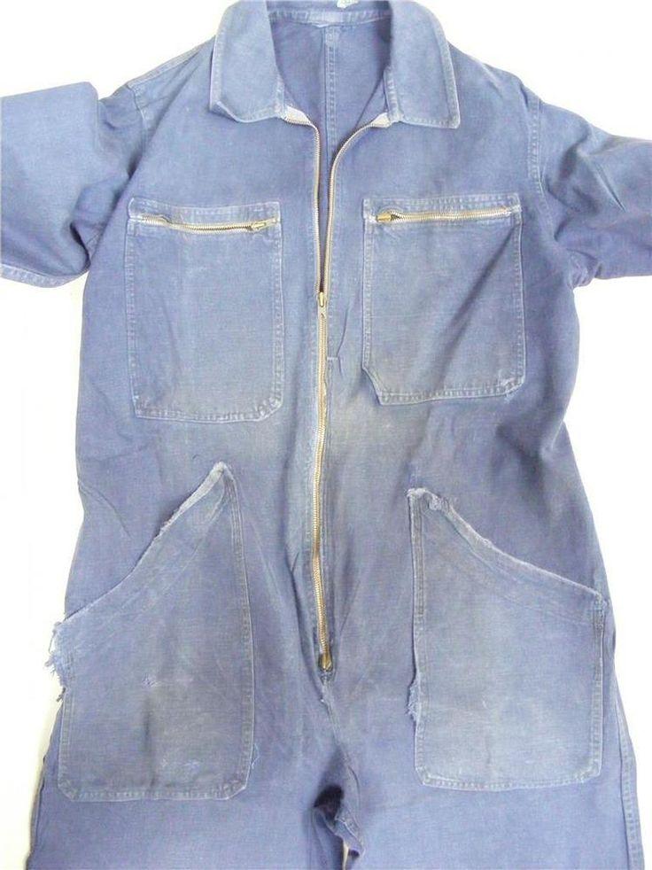Vintage French Boiler suit mechanics industrial workwear overalls Chore suit #Unbranded