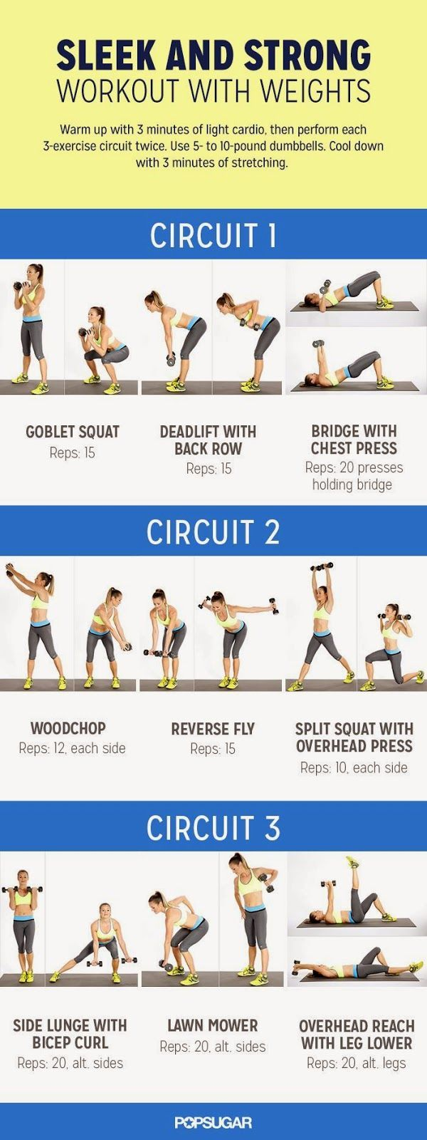 Get a sleek and strong workout with weights.