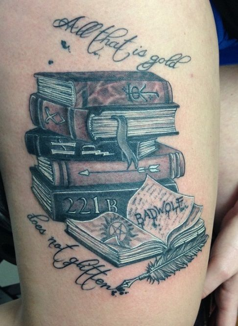 stack of books tattoos - Google Search