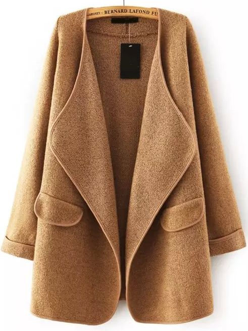 Khaki Lapel Long Sleeve Loose Sweater Coat: