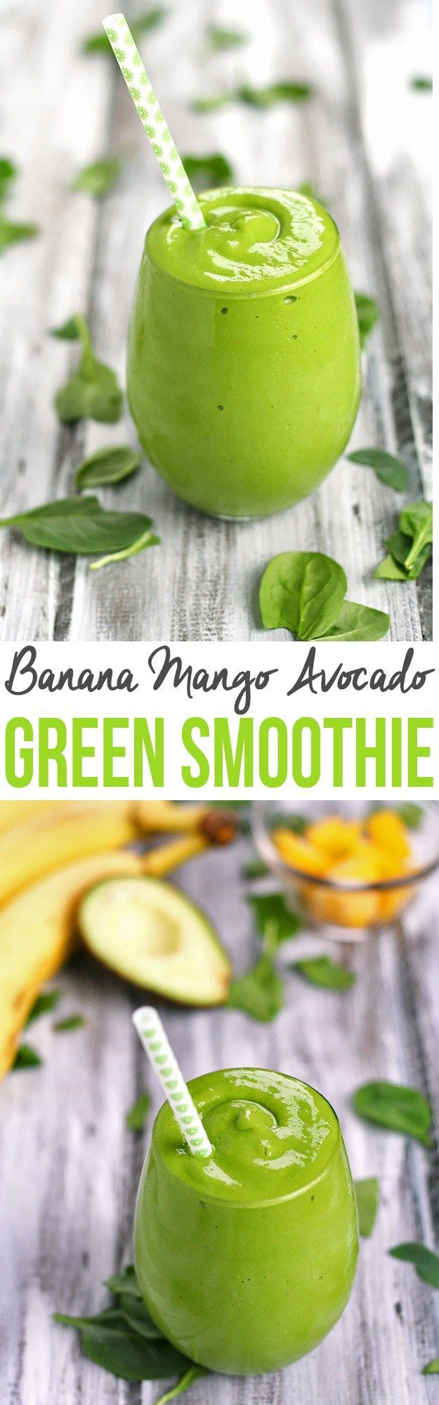 What better way to start eating healthier than with a green smoothie? This Banana Mango Avocado Green Smoothie is simple, creamy, and refreshing!