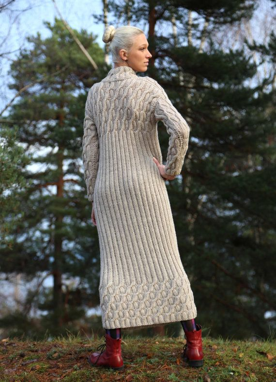 Instant Download PDF pattern. Hand knitted long dress with