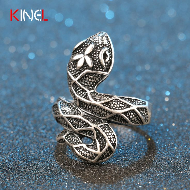 Unique Punk Black Snake Ring Fine Carving Ethnic Steampunk Animal Charm Party Rings 2016 NEW KineL Brand Jewelry For Women