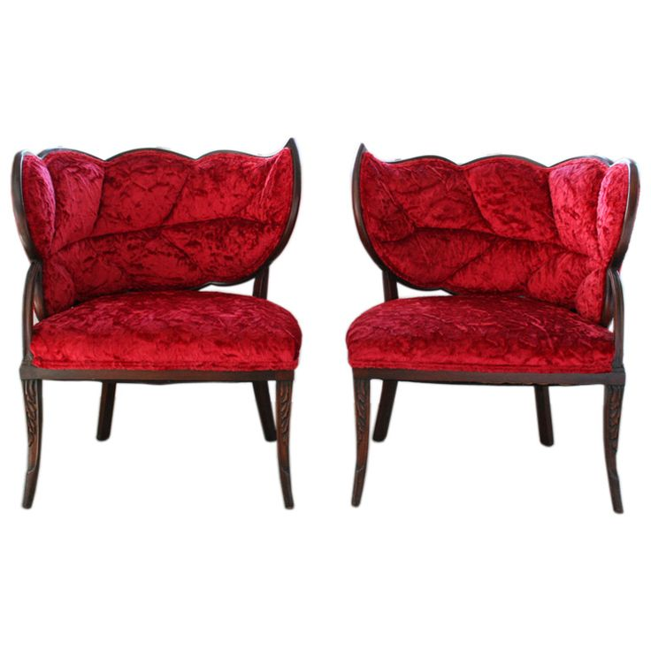 Pair of French Art Deco Mahogany Velvet Leaf Back Boudoir Chairs | From a unique collection of antique and modern slipper chairs at https://www.1stdibs.com/furniture/seating/slipper-chairs/