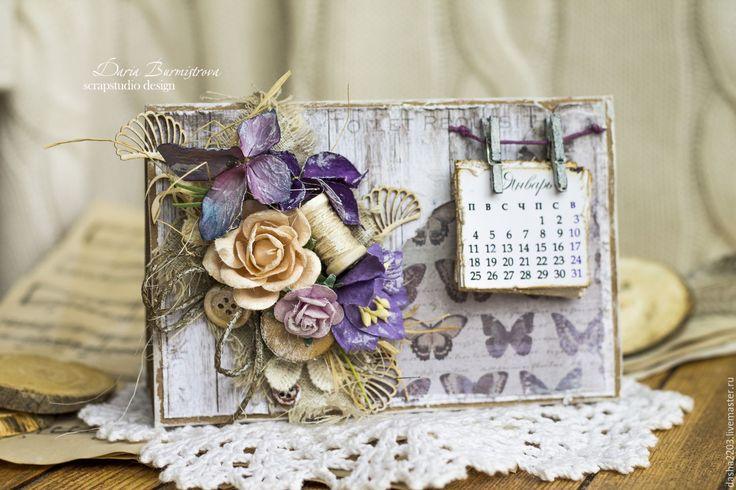 Купить Календарь настольный прованс - разноцветный, календарь, календарь ручной работы, Скрапбукинг, скрап календарь
