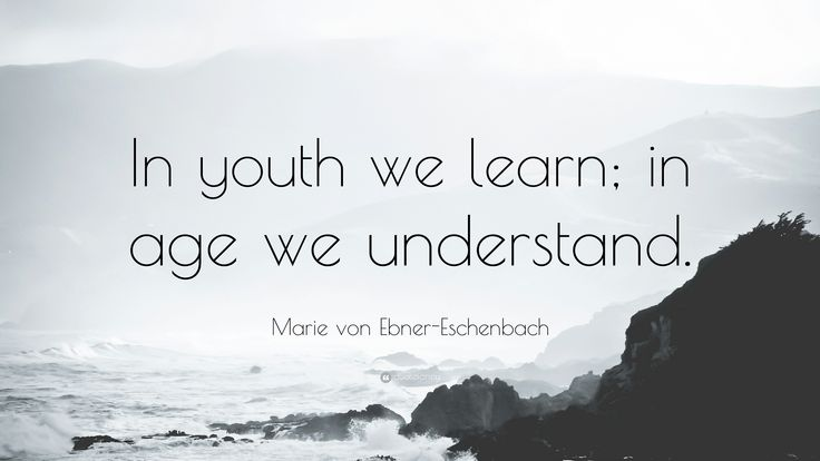 "Marie von Ebner-Eschenbach Quote: ""In youth we learn; in age we ..."