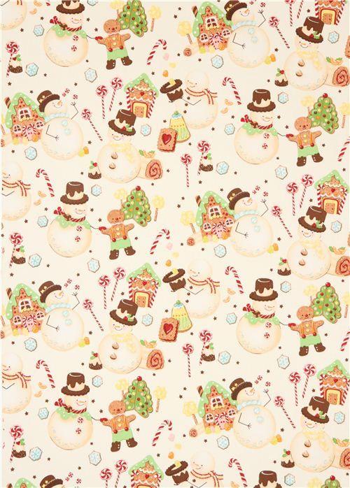 candy snowman #Christmas fabric Alexander Henry