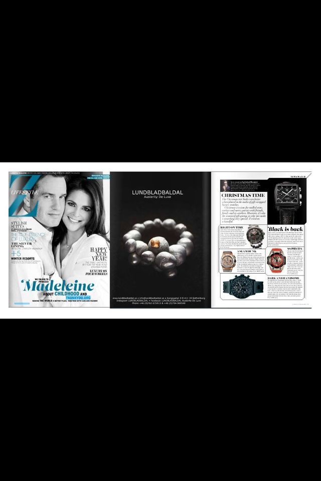 LUNDBLADBALDAL in latest issue of Z-Magazine Lifestyle No. 4 Big jewellery add featured Swedish princess Madeleine Bernadotte.  Exclusive handcrafted solid silver ring with 18K gold detail. The ring, Desire from the Collection 0100.