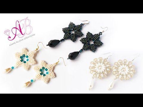 Tutorial perline Natale: come fare orecchini gold star con perline farfalla. - YouTube