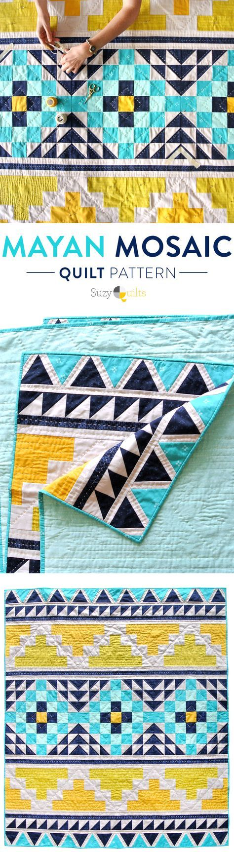 Check out this tribal-inspired modern quilt design! This fun quilt pattern is an instant PDF download that also includes a YouTube video tutorial!