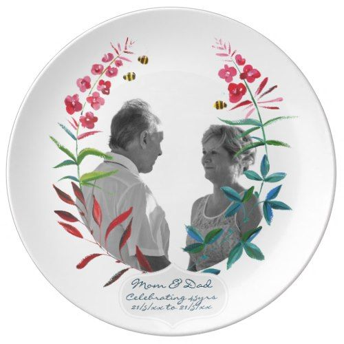 45th Wedding Anniversary PHOTO Bees Leaves Wreath Dinner Plate