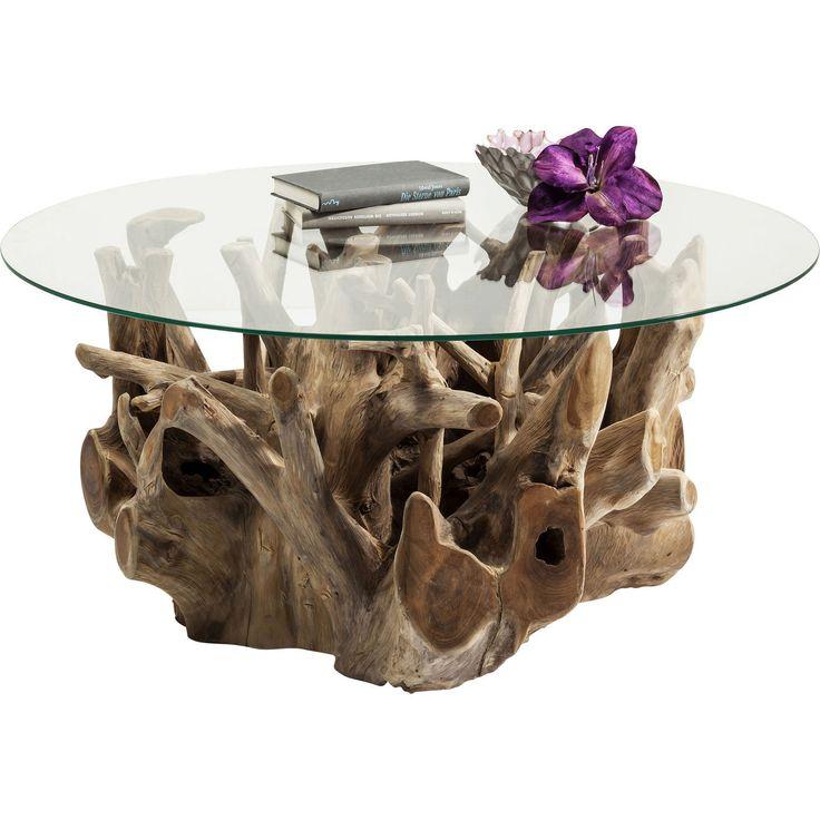 Ett annorlunda, rustikt soffbord i de bästa av material - naturlig trärot i kombination med rund bordskiva i glas. Avskalad, vacker design! Varje bord är uni...