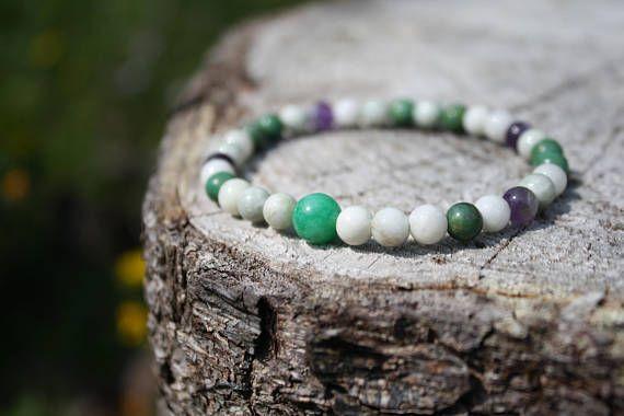 Healing and support Bracelet: Jade, Verdite, New Jade, Amethyst. Genuine Power Stones Juzu mala Bracelet.