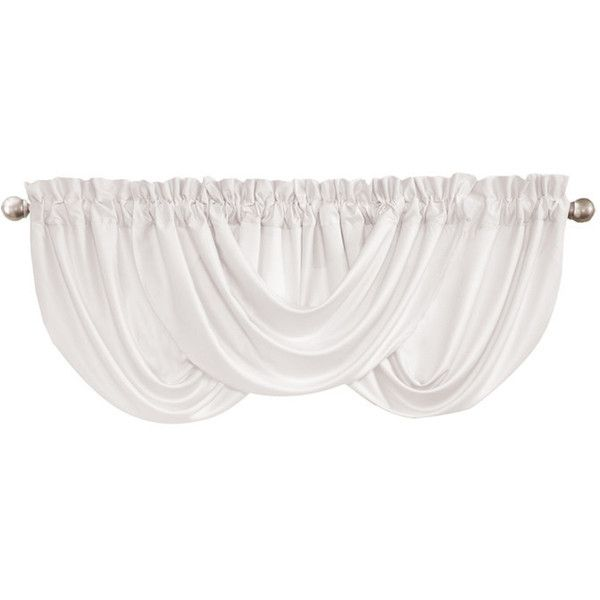 Drape Rod Pocket Valance in White Soft Neutrals ❤ liked on Polyvore featuring home, home decor, window treatments, curtains, white home accessories, rod pocket curtains, white home decor, pole top curtains and white valances