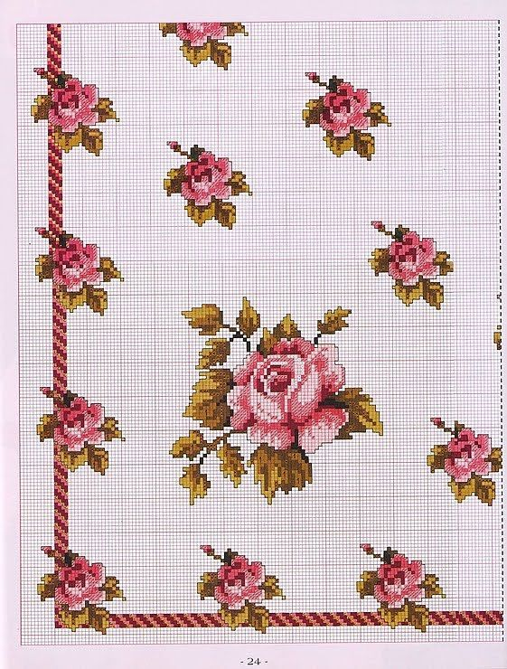 cross stitch table cloth pattern kanaviçe masa örtüsü etamin xstitch
