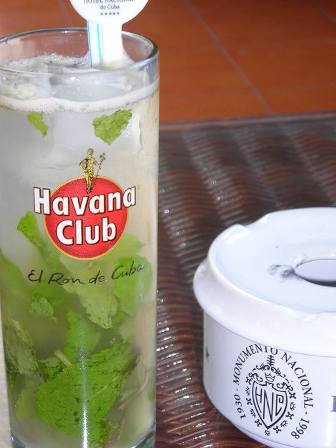 Cuba's rum cocktails are world famous.  Pictured here is a mojito made with Havana Club Rum, the most celebrated brand in Cuba.  Silver Dry is the cheapeast and therefore, what I plan to drink.