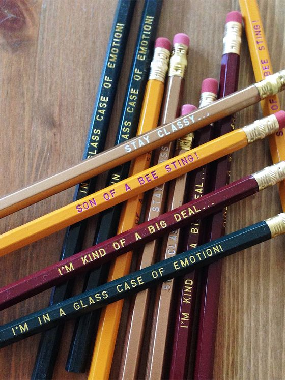 "This incredible pencil set is a must-have for any fan of Will Ferrell or Anchorman. It contains 4 pencils each of Ron Burgundy's favorite phrases:3 - ""STAY CLASSY..."" in Copper/Gold with white printing3 - ""SON OF A BEE STING!"" in yellow with black printing3 - ""I""M KIND OF A BIG DEAL..."" in brown with gold printing3 - ""I'M IN A GLASS CASE IF EMOTION!"" green pencil with gold printing.These pencils are perfect for all styles and methods o..."