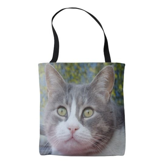 #zazzle #girl  #woman #gift  #giftidea  #Tote #Bag #Gray #White #Cat