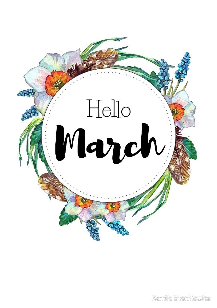 Hello March - monthly cover for planners, bullet journals by Kamila Stankiewicz